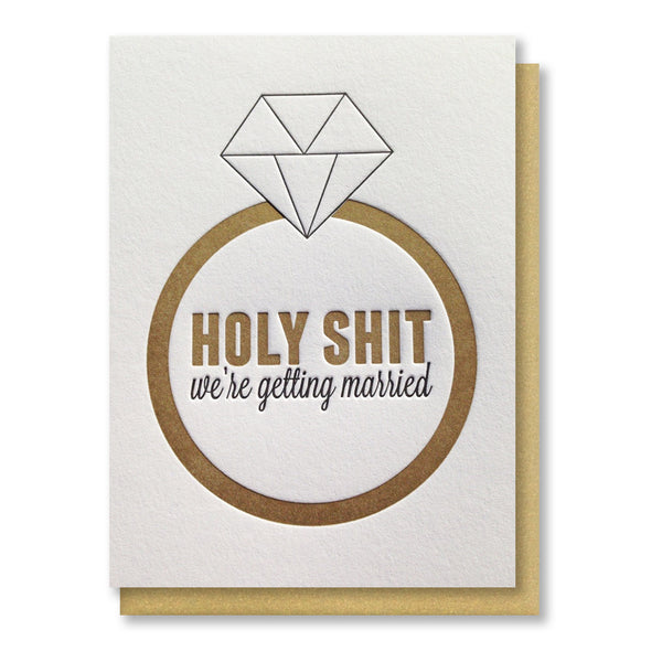Funny We're Getting Married Letterpress Card | kiss and punch - Kiss and Punch