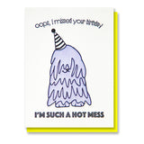 Komondor Mop Dog Belated Birthday Card