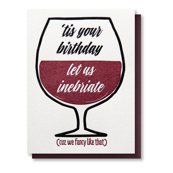 Funny Wine Glass Birthday Letterpress Card