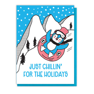 Cute Chillin' Holiday Tubing Penguin Letterpress Card | kiss and punch