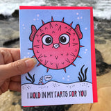 NEW! Funny Love Letterpress Card | Blowfish Hold In Farts | Valentine's Day | kiss and punch - Kiss and Punch