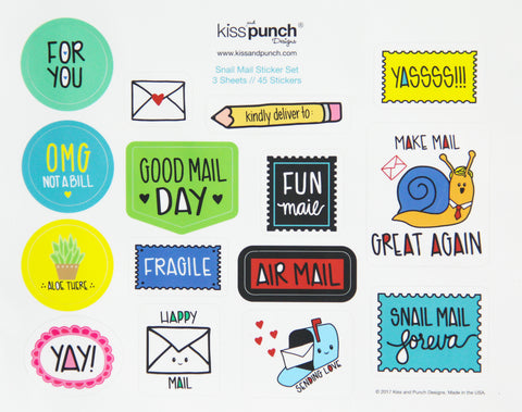 SALE! Funny Snail Mail Sticker Set Part 2 | Pen Pal Flair | 3 Sheets | 45 Matte Stickers | kiss and punch - Kiss and Punch