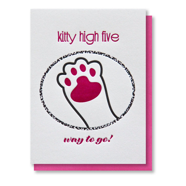 Funny Kitty Paw High Five Congratulations Letterpress Card