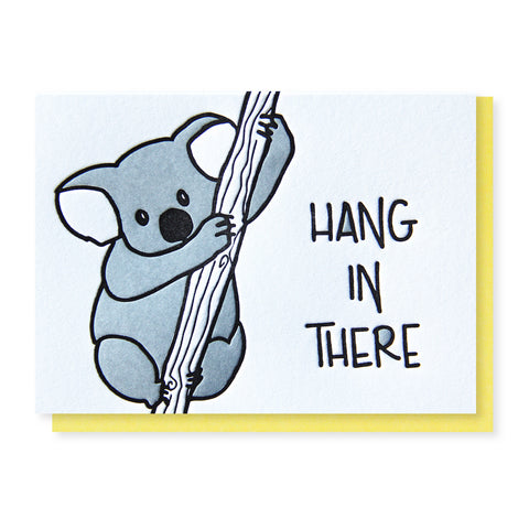 Koala Hanging Encouragement Letterpress Card