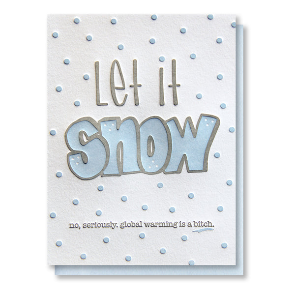 Funny Holiday Let it Snow Letterpress Card | kiss and punch