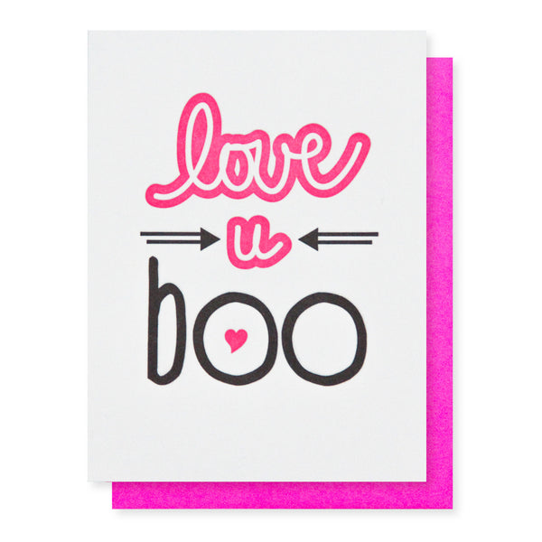 Love U Boo Letterpress Card | Valentine | Galentine | kiss and punch