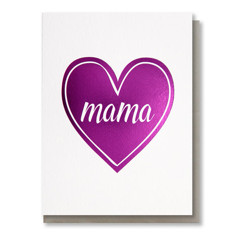 Mama Heart Magenta Foil Card | kiss and punch - Kiss and Punch