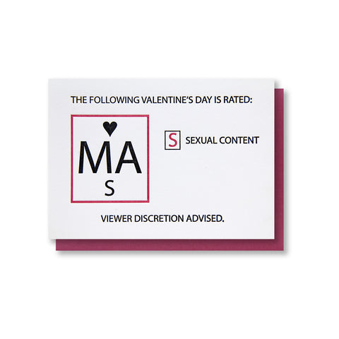 Sexy Mature Valentine Letterpress Card - Kiss and Punch