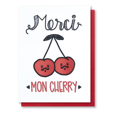 NEW! Funny Punny Thank You Letterpress Card | Merci Mon Cherry | French Pun | kiss and punch