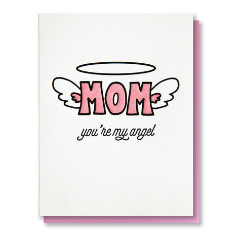Angel Wings Mom Letterpress Card