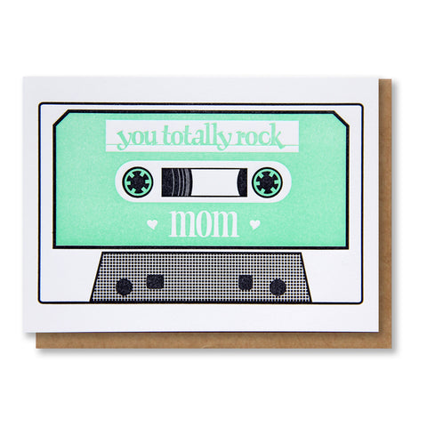 Old School Mom Cassette Tape Letterpress Card - Kiss and Punch