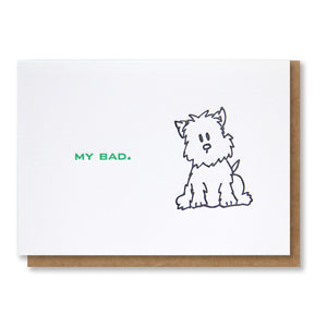 My Bad | Dog | I'm Sorry Letterpress Card | kiss and punch