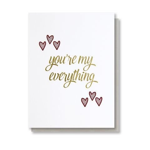 You're My Everything Letterpress and Foil Card - Kiss and Punch