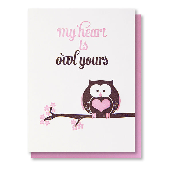 Pun Owl Yours Love Letterpress Card - Kiss and Punch