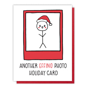 Funny Another Photo Holiday Letterpress Card | Stick Figure | kiss and punch