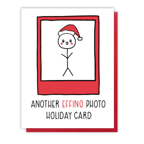Funny Another Photo Holiday Letterpress Card | Stick Figure | kiss and punch - Kiss and Punch