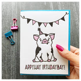 NEW! Funny Birthday Pig Latin Letterpress Card | kiss and punch - Kiss and Punch
