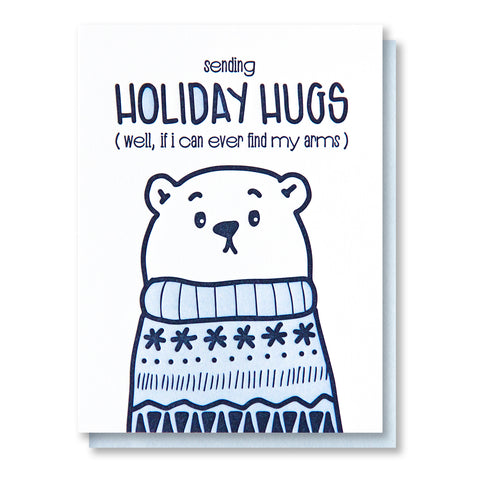 NEW! Funny Holiday Letterpress Card | Sending Holiday Hugs | Polar Bear Ugly Sweater | kiss and punch