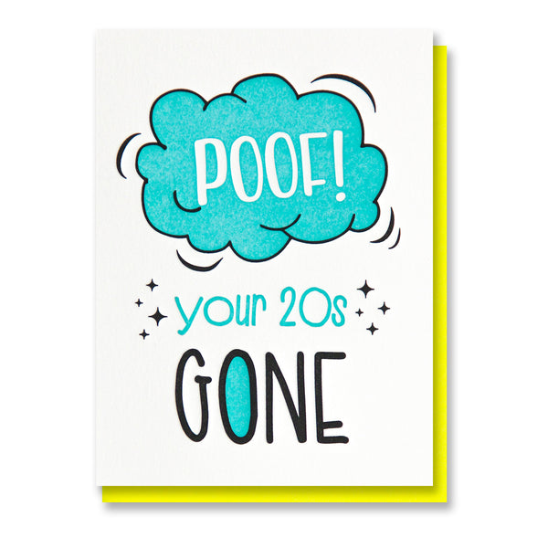 Funny Snarky Letterpress Birthday Card | 30th | Poof! Your 20s Gone | Milestone | kiss and punch - Kiss and Punch