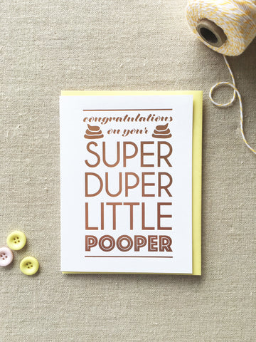 Funny Rose Gold Foil Baby Expecting Card | Super Duper Little Pooper | kiss and punch - Kiss and Punch