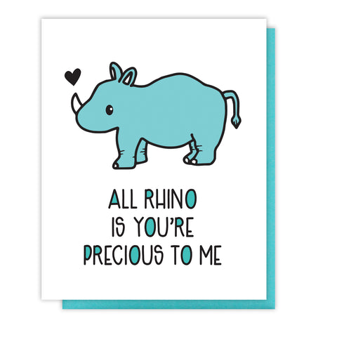 NEW! Cute Rhino Pun Love Friendship Letterpress Card | kiss and punch - Kiss and Punch