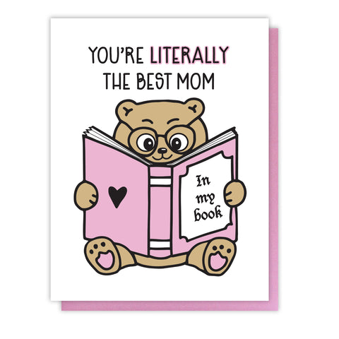 NEW! Punny Mother's Day Letterpress Card | Book Mom | kiss and punch - Kiss and Punch