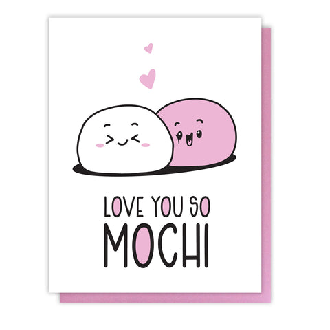 NEW! Mochi Pun Love Letterpress Card | Love You So Mochi | Valentine's Day | kiss and punch