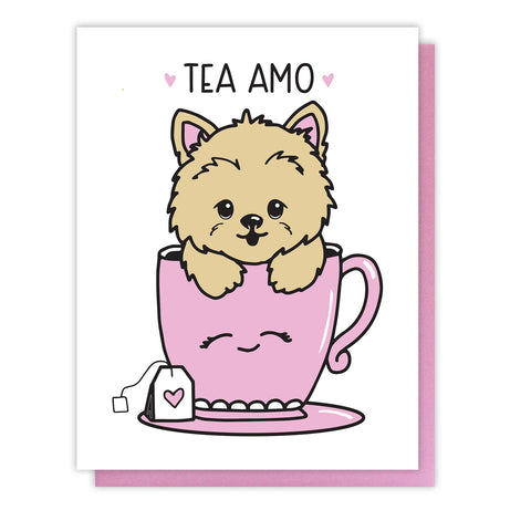 NEW! Tea Amo Tyke Pun Love Letterpress Card | Yorkie Teacup | Valentine's Day | kiss and punch