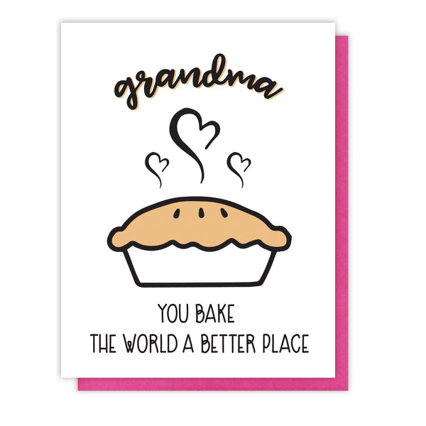 Grandma Letterpress Card | Pie Pun | Bake the World | Birthday Mother's Day | kiss and punch - Kiss and Punch