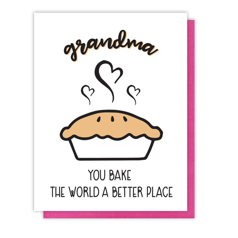 NEW! Grandma Letterpress Card | Pie Pun | Bake the World | Birthday Mother's Day | kiss and punch - Kiss and Punch