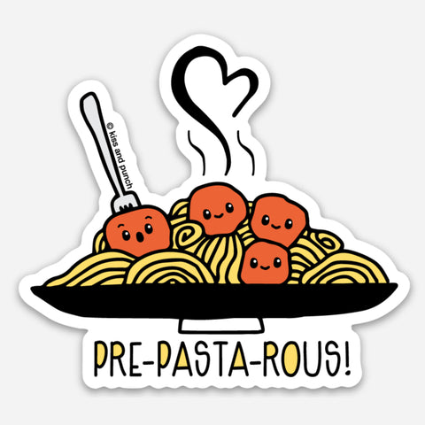 NEW! 3 Inch Punny Pre-Pasta-Rous Spaghetti Vinyl Sticker - Kiss and Punch