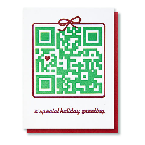 QR Code Holiday Letterpress Card - Kiss and Punch