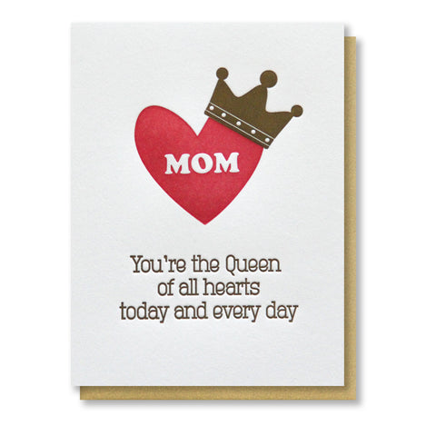 Queen Mom Birthday Mother's Day Letterpress Card | kiss and punch - Kiss and Punch