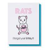 Funny Belated Letterpress Birthday Card | Rats | kiss and punch - Kiss and Punch