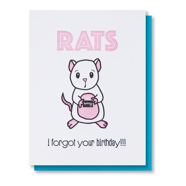 NEW! Funny Belated Letterpress Birthday Card | Rats | kiss and punch - Kiss and Punch