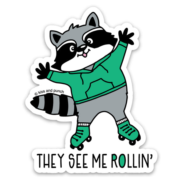 NEW! 3 Inch Cute Rollin' Raccoon Matte Vinyl Sticker