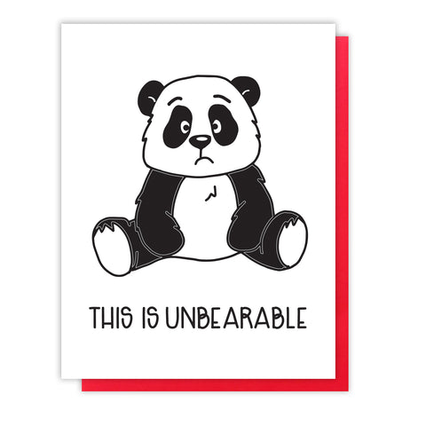NEW! Unbearable Panda | Miss You Sympathy Letterpress Card