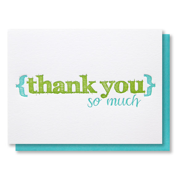 Sketch Thank You Letterpress Card | kiss and punch - Kiss and Punch