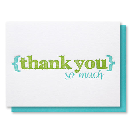 Sketch Thank You Letterpress Card - Kiss and Punch