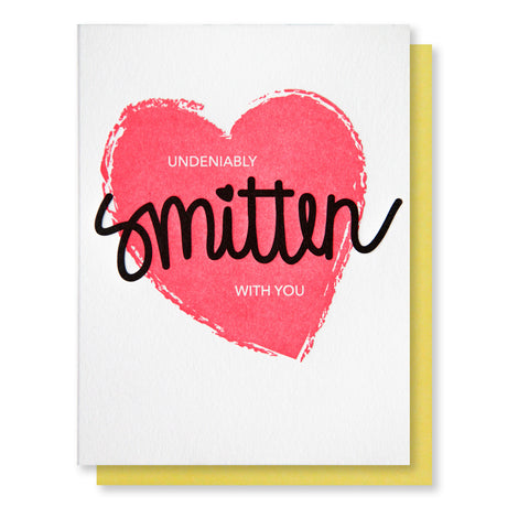 Smitten Love Letterpress Card - Kiss and Punch