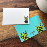 NEW! Mini Notecard Set of 60 - Snake Plant Flat Cards - Lunch Notes - Mini Cards - Enclosure cards