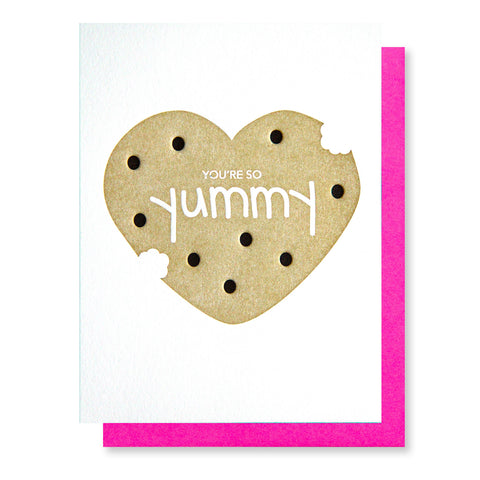 So Yummy Cookie | Foodie Love Letterpress Card | kiss and punch - Kiss and Punch