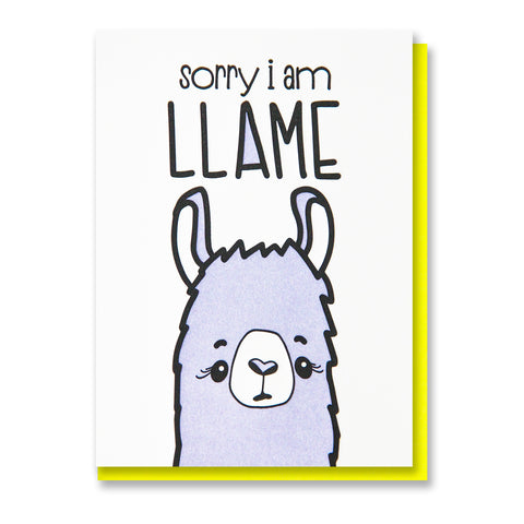 NEW! Funny Sorry Letterpress Card | Llame Llama Pun | kiss and punch