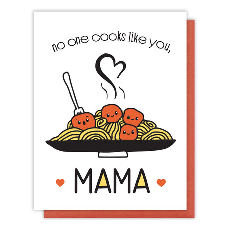 Mother's Day Letterpress Card | No One Cooks Like You Mama | kiss and punch - Kiss and Punch