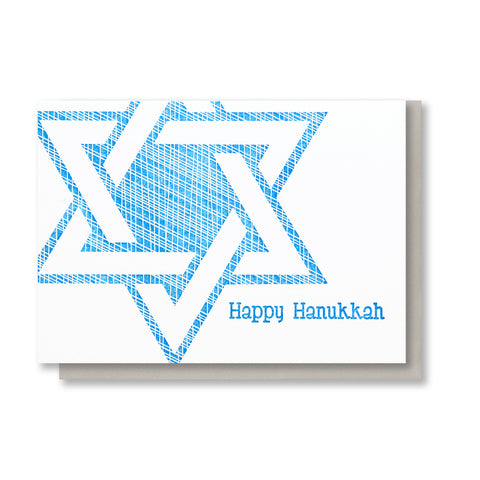 Star of David Happy Hanukkah Letterpress Card - Kiss and Punch