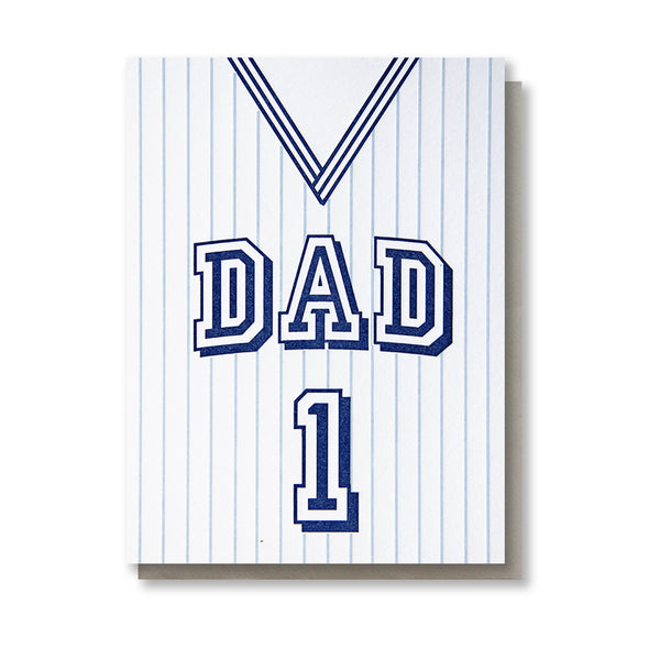 Striped Basketball Jersey Dad | Sports Father's Day Letterpress Card | kiss and punch - Kiss and Punch