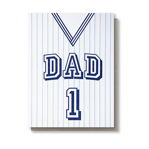 Jersey Dad Number One Letterpress Card