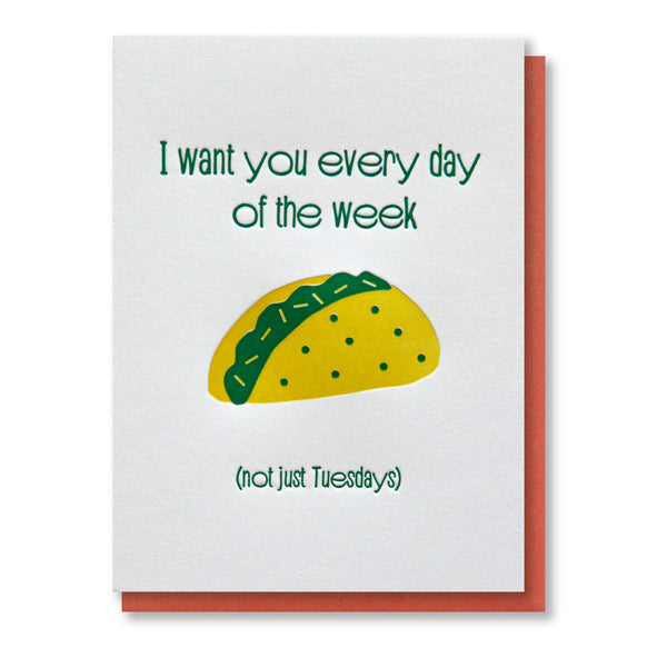 Funny Taco Love Foodie Letterpress Card
