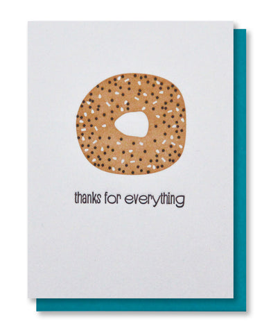 Funny Everything Bagel Thank You Letterpress Card