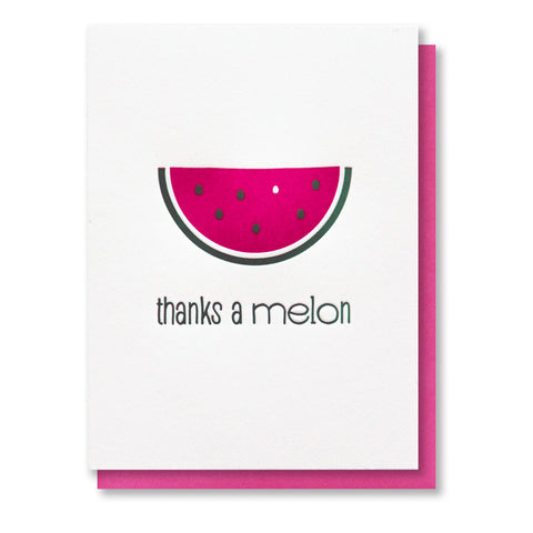 Watermelon Thanks Letterpress Card